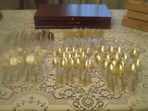FB. ROGERS GOLD PLATED 85 PC. FLATWARE SET w/ WOODEN CASE BRAND NEW SEALED