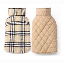 Hundebekleidung Hundejacke Hundemantel Plaid Beige Wintermantel Warm M Luxus NEU