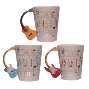 Novelty Guitar Shaped Handle Ceramic Mug Tea Coffee Cup Music Lovers Gift MUG104