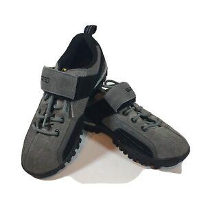 Mens Shimano Cycling Shoes US 4.5 EU 37 CM 23.2 Grey Black Hook And Loop Lace Up