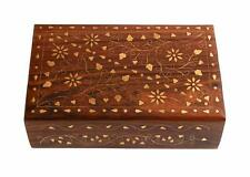 Wooden Decorative Jewelry Box Mughal Inspired Floral Carvings & Brass Inlay