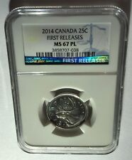 2014 CANADA NGC FIRST RELEASES MS67 PL 25C!!!