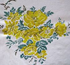 Vintage YELLOW ROSES Tablecloth Gold Leaves vintage Table Linens EUC
