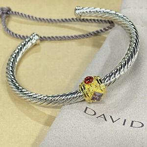 David Yurman 5mm Cable Classic Renaissance Bracelet with Red Topaz