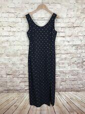 Vintage Jonathan Logan Long Black Sleeveless Dress Square Gold Pattern Large