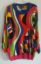 IB Diffusion Geometric Bright Multi Colored Sweater Sequin Vintage Women's Sz L