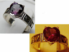 purple raspberry alexandrite antique 925 sterling silver heart ring size 6.5 USA