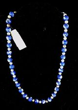 Hand Made Silver And Blue Palm And Moon Stretch Clay Bead Necklace