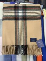 100% Lambswool Throw | Johnstons Of Elgin | Camel Stewart | Made in Scotland