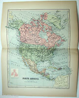Original 1895 Map of North America by  W & A.K. Johnston. Antique