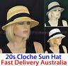 Ladies Plaited Summer Sunhat Bowler Trilby Cloche Hat Versatile 20's 20s Flapper