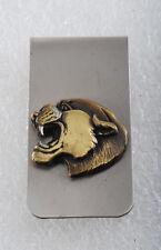 Vintage Collectible Silver Tone Metal w Gold Cougar Head Money Clip NOS