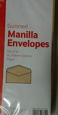 400 x DL Brown Manilla Gummed Envelopes 70gsm 110 x 220mm
