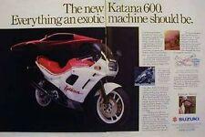 SUZUKI KATANA 600 Original 2 Page Motorcycle  Ad 1988