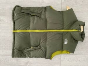 THE NORTH FACE 700 Goose Down Size Small Mens Nuptse Olive Green Puffy Vest