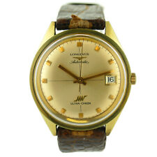 LONGINES VINTAGE AUTOMATIC ULTRA-CHRON GOLD DIAL YELLOW GOLD MENS WATCH ON STRAP