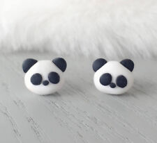 Panda Polymer Clay Handmade Stud Earrings Cutie Panda Surgical Steel Earrings