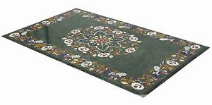 "48"" x 24"" green Marble Center Table Top Inlay multi stones art Handmade Work"