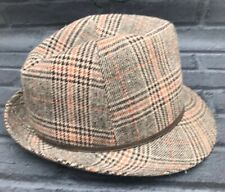Trilby Hat Mens M 7-71/8 M&S Check Tweed Style Brown English Gentleman Country