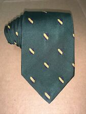 Vintage Polo By Ralph lauren USA Made Green w/Navy & Gold Shields Woven Silk Tie