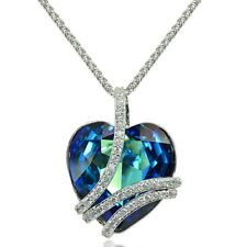"Bermuda Blue ""I Love You"" Large Heart Wrap Necklace made with Swarovski Crystal"