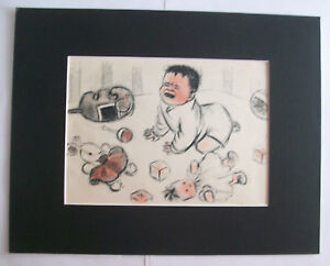 Baby Boy Crying Toyroom Print Clare Newberry Bookplate 1950 11x14 Matted Cute