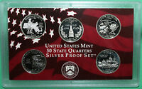 2000 State SILVER QUARTER Proof Statehood Five 25 Cents 5 Coin Set No Box or COA