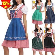 Oktoberfest Trachtenkleid Damen Kleid mit Bluse Schürze Festkleid Dirndl 34-52