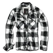 Brandit - camisa de cuadros blanco y negro hombre gris S