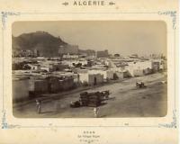 Algérie, Oran, Le village Nègre Vintage Albumen Print.  Tirage albuminé  13x