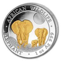 Somalia Elefant 2014 - 1 Unze Silber gilded st