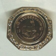 MEN'S RING- 14K GOLD COIN KRUGERRAND WITH DIAMONDS SURROUNDING