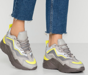 New Topshop CANCUN Grey With Neon Green Trims Chunky Sole Trainers UK 3,4,5,6