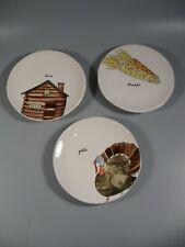 """3 Rae Dunn 8"""" Plates Turkey Corn Cabin Thanksgiving"""