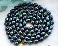 "US-8-9mm Real 14k Tahitian Baroque AAA Peacock  34"" Pearl Necklace..Velvet Pouch"