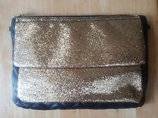 Acolchado Negro Oro Lentejuelas Clutch Bag-Desmontable correa de cadena de oro