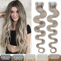 Tape In 100% Remy Human Hair Extensions Full Head Wavy Straight 100g Blonde Gray