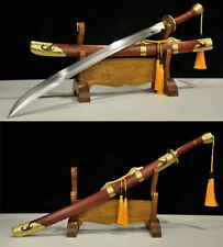 ROSE WOOD SAYA 1095 CARBON  STEEL CLAY TEMPERED SHARP CHINESE QING DAO 清刀 SWORD