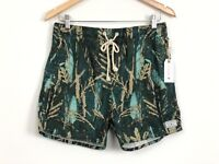 AFENDS Mens Green Elastic Waist Baywatch Jungle Board Shorts Size 30 NWT RRP $59
