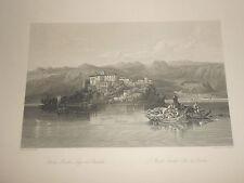 1850 INCISIONE SU ACCIAIO VEDUTA DELL'ISOLA LECCHI SUL LAGO DI GARDA