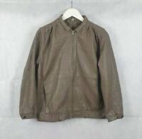 Vintage 70s Womens Leather Brown Bomber Jacket Size 12 Made in England MINT