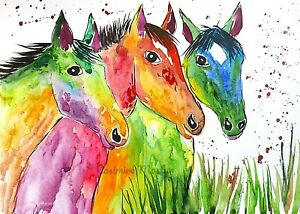 """Greeting card,  Colourful Horses    5"""" x 7"""" By Casimira Mostyn"""