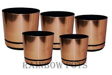 Plastic Flower Plant Pot,Coloured Planter with Saucer - COPPER - Many Sizes