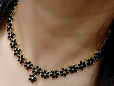Indian Pakistani Jewelry AD Flower Necklace Earring Black Stone Gold Plated Love