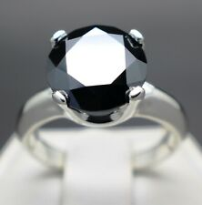 4.05cts 10.48mm Real Natural Black Diamond Engagement Size 7 Ring & $2225 Value.