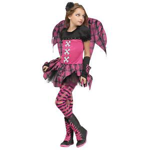 Girls Kids Pink Punk Fairy Grunge Gothic Halloween Costume Dress Tights Wings