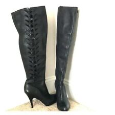 Calvin Klein over the knee Leather boots Sz.8   NEW