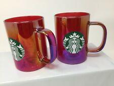 Starbucks Iridescent Glass 14oz 2019 Set of 2 Holiday Mug Christmas Red Cup