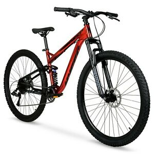 "Men's 29"" Explorer 9-Speed Mountain Bike, Dual Suspension and Disc Brakes, Red"