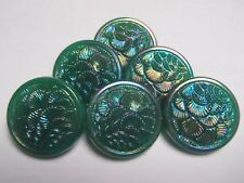6 Vintage Glass Buttons Green Iridescent 18 mm sew craft scrapbook quilt knit